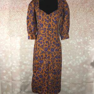 Zara Brown and Blue Floral Poplin Dress